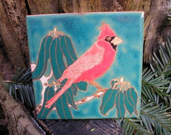 Cardinal , CUSTOM ORDER - 4-6 wks production time,bird tile in the arts and crafts style with fine detail for the bird lover