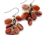 Grape Earrings in Sunstone and Sterling. Sterling Silver Ear Wire. Orange Sunstone Fall Earrings. Foliage Earrings Handmade by AnnaAr72