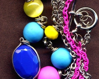 Neon Color Necklace, Minimalist Neon Necklace, Hot Pink , Blue and Yellow Necklace - OOAK Handmade Jewelry by AnnaArt72