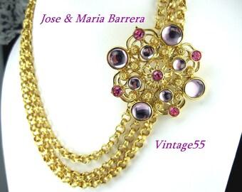Necklace Jose Barrera Rhinestone Medallion Rich Gold tone