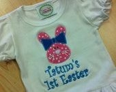 Easter Bunny Shirt Pink and Turquoise