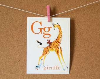 Animal ABC Flash cards   Set of 26   Choose your Size