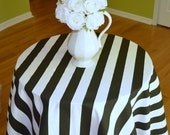 Round Tablecloth - Black / White Canopy Stripes  -  Wedding, Banquet, Party, Holiday - You Choose Size