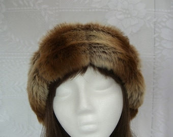 Sheared Chinchilla FAUX FUR HAT, Pillbox Style, Women's Winter Hat, Fur Hat, Brown Chinchilla Hat