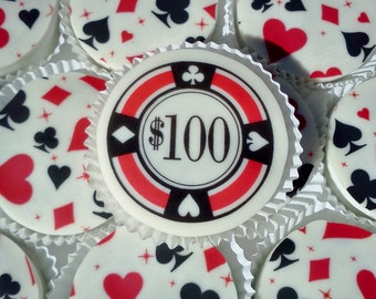 1 Doz POKER CHIP Designer Chocolate Covered Oreos Black Red Card Suits Casino Heart Diamond Spade Club