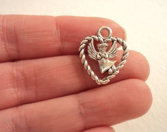 Heart with Angel Charm - Set of 6