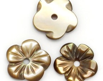 Shell Flowers  - 8mm - Hand Carved - Set of 5 - Limited Quantity - #SH115