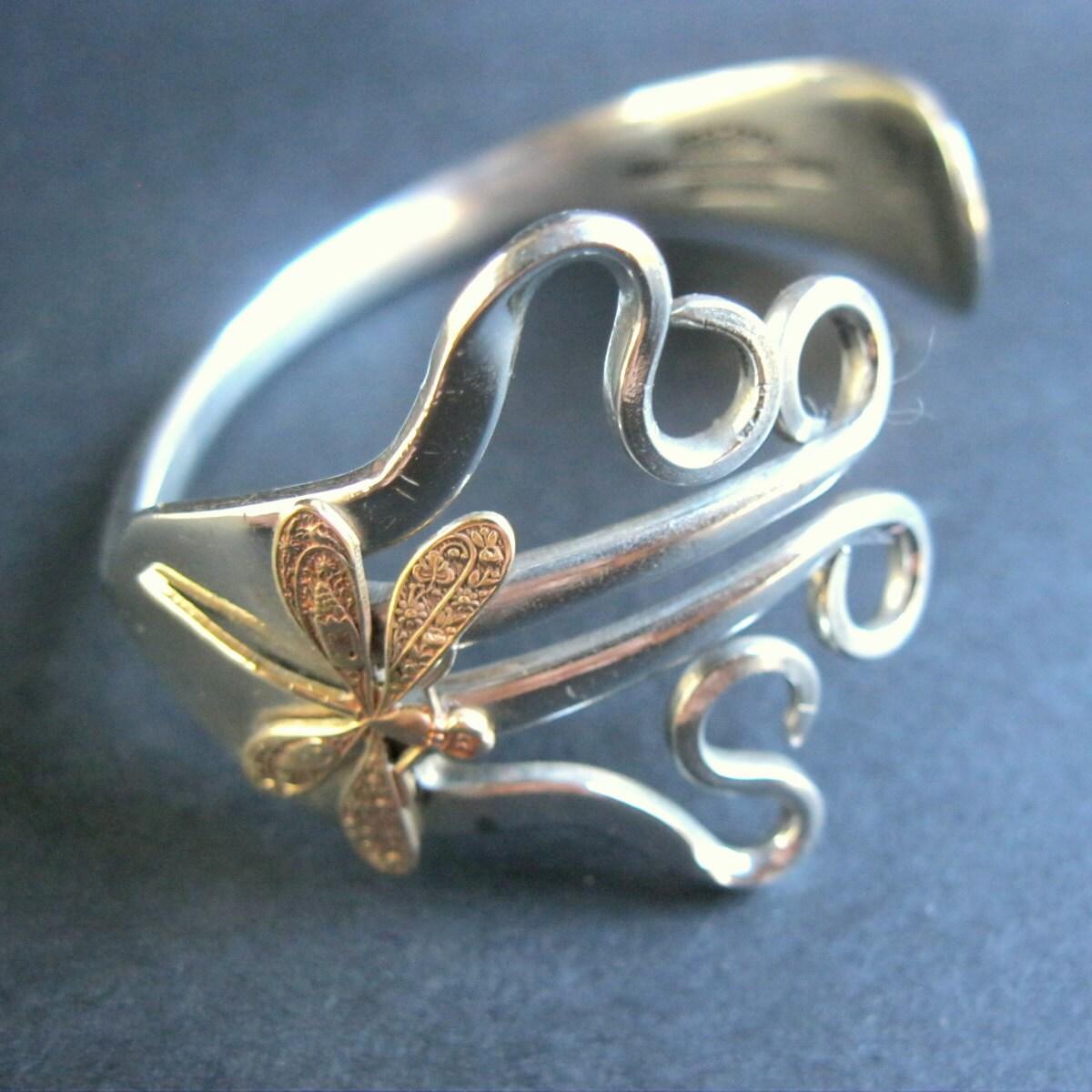 fork dragonfly bracelet silver fork bracelet
