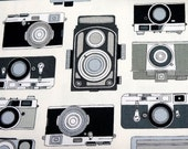 Japanese Fabric - Antique Cameras in Grayscale - Fat Quarter - Cosmo Textiles from Japan LIMITED YARDAGE