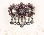 Purple Rhinestone Flower Pin - Blossom Cluster w/ Dangling Gems - New/Old Stock Vintage Brooch