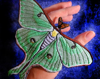 Sage Green Luna Moth Actias luna Iron on Patch