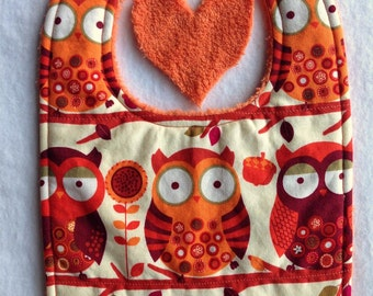 7 Dollar Bib sale- Owl Baby Drool Bib-was 8.95