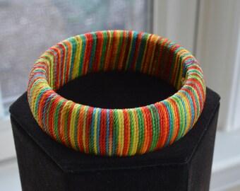 Pretty Vintage Multi-Colored Bangle Bracelet, Cord