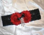Garter, Bridal Accessories, Red Black Garter, Prom Garter, Gothic Garter