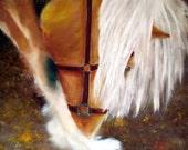 Art Horse Horse Large Pastoral Painting Farm Plow Palamino Buckskin Pinto