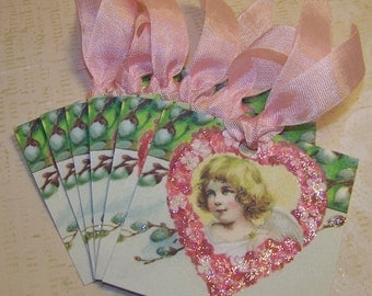 Valentine Tags Valentine's Day Tags Vintage Style - Set of 6