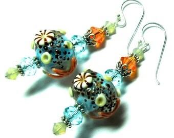 Lampwork Earrings, Handmade Lampwork Beads, SRA Artist, Swarovski Crystals, Ocean Beads, Sterling Silver Earwires