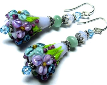 Purple Earrings Floral Cone Earrings Lampwork Earrings Glass Earrings Artisan Earrings Flower Earrings Floral Earrings Beaded Earrings