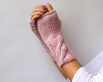 Gift For Her Fingerless Gloves Light Pink Fingerless Mittens Winter Accessories Cable Warm Womens Mittens Gloves Handwarmer