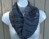 Knit Cowl -Infinity Scarf - Snood - The Ribbed Cowl in Gray - Womens Fashion