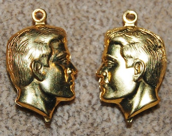 Vintage 5 Brass Bust Head Pendant 23x14mm Charms N4L