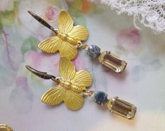 Yellow Blue Earrings ~  Butterfly Earrings ~ Yellow Earrings ~ Vintage Glass ~ by Upswept Illusions