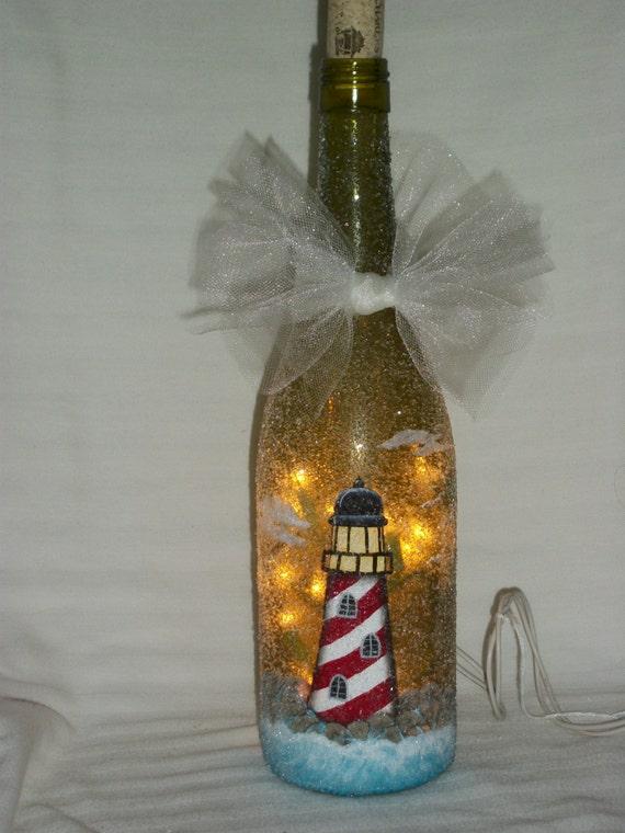 Hand painted lighthouse bottle light for Hand painted bottles