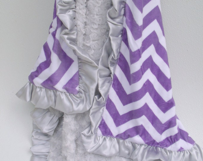 Purple Chevron and Silver Gray Minky Baby Blanket Can Be Personalized