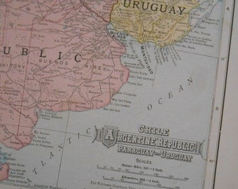 Antique Map of Argentina, 1906 vintage Dated map, Old South America Map