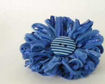 Flower Brooch, blue with striped button centre