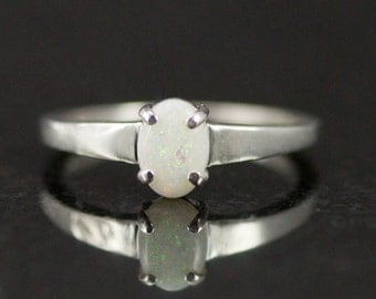 Australian White Opal Ring -  5x7mm Genuine Opal Sterling Ring - Untreated Opal Ring