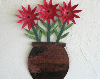 Metal Wall Decor Flower Sculpture Art Recycled Metal Indoor Outdoor Wall Hanging Rustic Cottage Decor 11 x 15