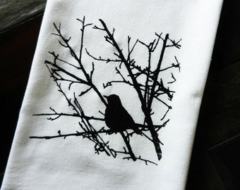 Rustic Branches and Bird Screen Printed Flour Sack Dish Towel - Bird Kitchen Towel