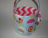 Sale! Ready to Ship! Umbrellas and Chicks - Reversible Fabric Easter Basket