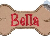 Dog Bone Personalized with your dog's name Applique Embroidered Patch , Sew or Iron on
