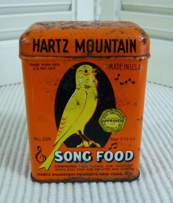 Vintage hartz mountain song food tin canary song bird tin for Bird feed tin