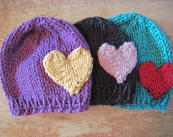 Heart hat - newborn and other sizes - photo shoot prop - hand knit - pick your colours - baby shower gift