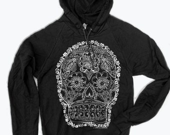 Unisex - Day of the DEAD 2  - Fleece PULLOVER Hoody  - screen printed - 2 Color Options