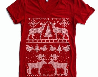 Womens HOLIDAY Sweater Print  t-shirt american apparel S M L XL (16 Colors Available)