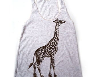 Women's GIRAFFE (in High Tops) -hand screen printed Tri-Blend Racerback Tank Top xs s m l xl xxl  (+Colors) Zen Threads