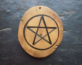 Natural Wood Pentacle Talisman - English Ivy - for Friendship.