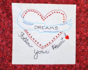"""PDF Stitchery Pattern """"Dreams-Follow Your Heart"""" Beaded Embroidery"""
