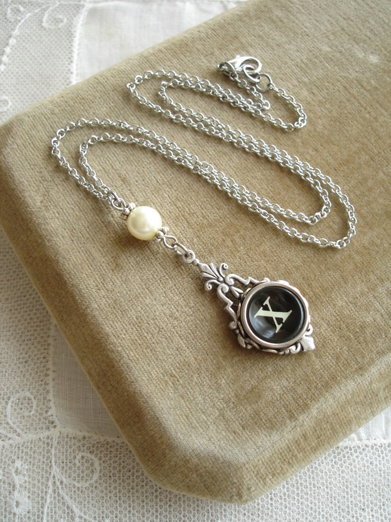 Typewriter Key Necklace & Pearl. Letter X Necklace. Vintage Typewriter Key Jewelry. Monogram Necklace. Upcycled Jewelry. Repurposed Jewelry.