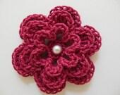 Custom Listing for Liz - Crocheted Flower - Cherry Red with Pearl - Cotton Flower - Crocheted Flower Applique
