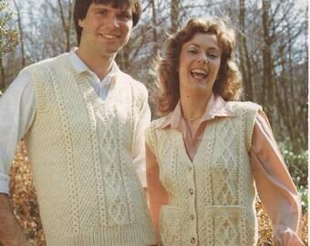 "PDF Ladies/Mens Aran Patterned Waistcoats Size 34 to 44"""