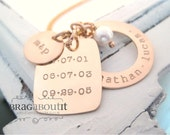 Personalized Hand Stamped Personalized Necklace . Personalized Jewelry . Brag About It 14K Gold Filled . Family Dates