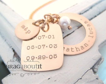Brag About It Personalized Hand Stamped Jewelry . Personalized Jewelry . Brag About It 14K Gold Filled . Family Dates