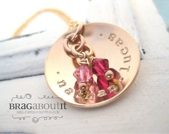 Personalized Hand Stamped Mommy Necklace - Gold Personalized Jewelry - Brag About It -  Cup of Love with Birthstones
