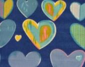 Fleece Blanket - Blue Colorful Hearts