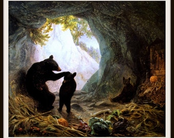 Wall Art - Mama Bear and Cubs by William Holbrook Beard  - Giclee Print - Cabin Decor - Child's Bedroom Decor